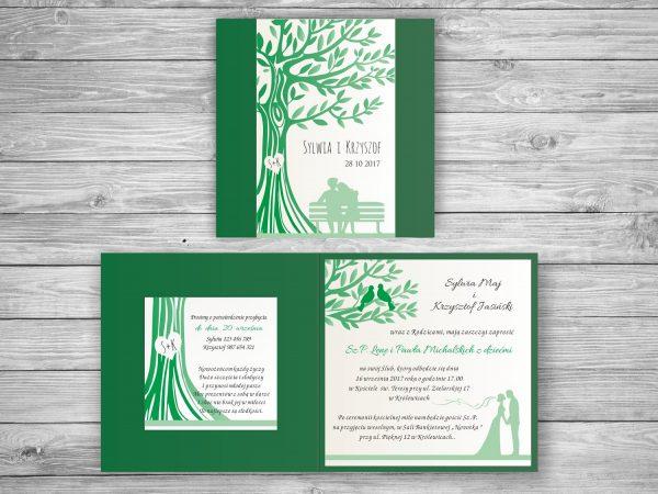 Zaproszenie ślubne drzewo miłości