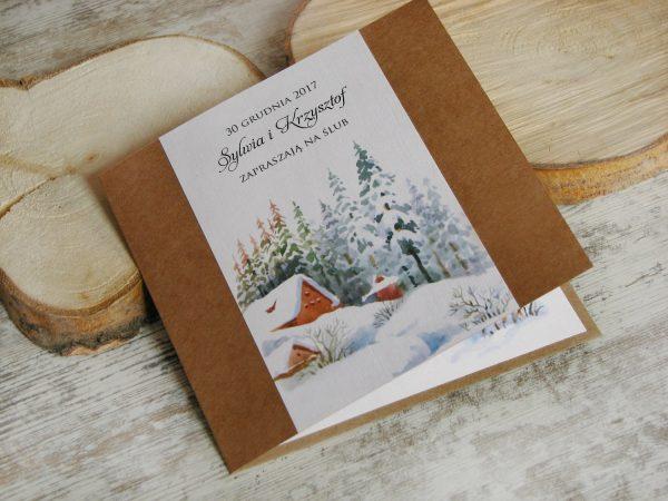Zaproszenie ślubne zimowy pejzaż
