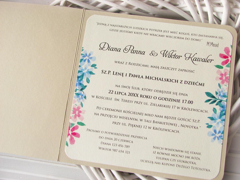Zaproszenia ślubne Akwarelowy Wianek Artcard