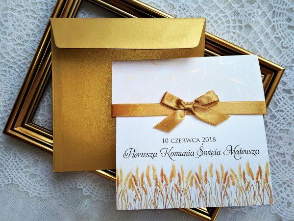 Zaproszenia komunijne złote kłosy