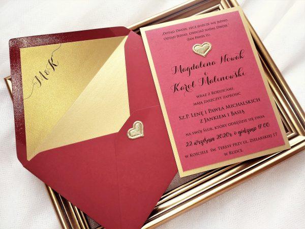 Zaproszenia Bordowy Szyk z podklejaną kopertą