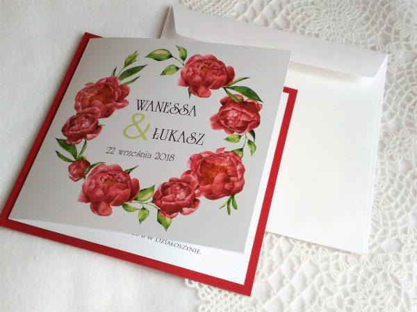 Zaproszenia  – Marsala bordowe peonie