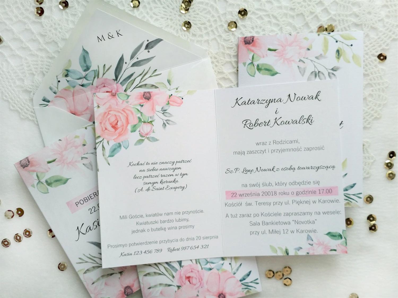 Zaproszenia Pudrowe Kwiaty Z Podklejaną Kopertą Artcard