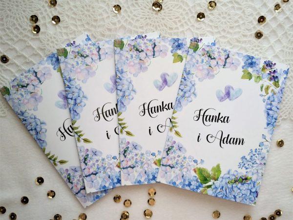 Zaproszenia Niebieska Hortensja z podklejaną kopertą