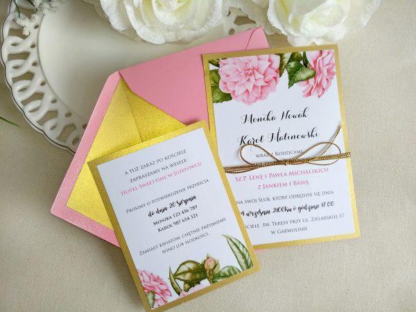 Zaproszenia ślubne – róż ze złotem