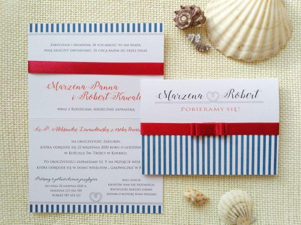 Zaproszenia ze składaną kokardką – Marine