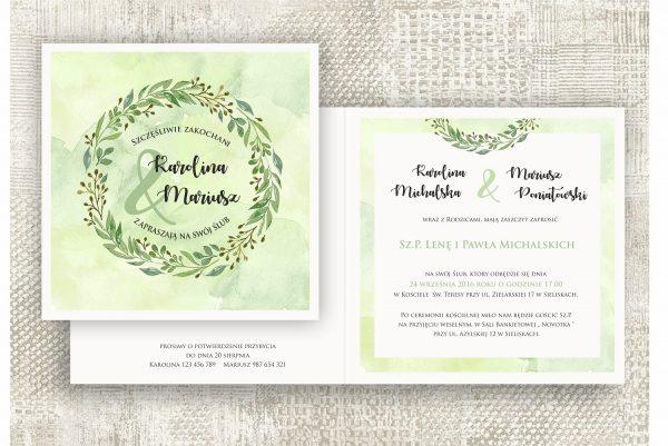 Zaproszenia ślubne – zielony wianek