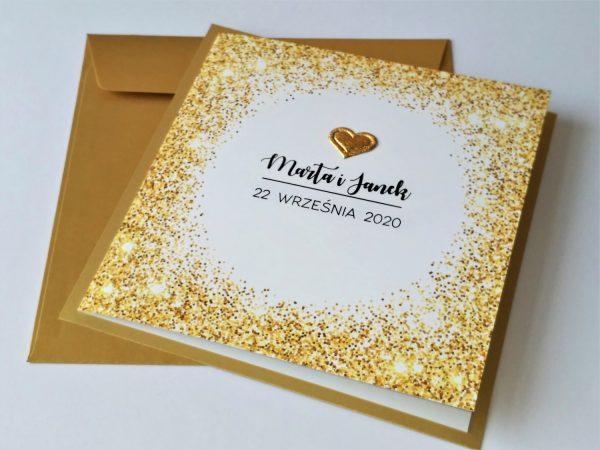 Zaproszenia złoty pył – kwadrat