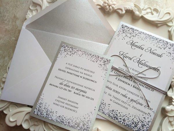 Zaproszenia ślubne – srebrne konfetti