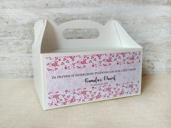 Pudełka na ciasto weselne białe – róże