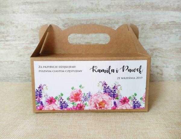 Pudełka na ciasto weselne eko – kwiaty boho