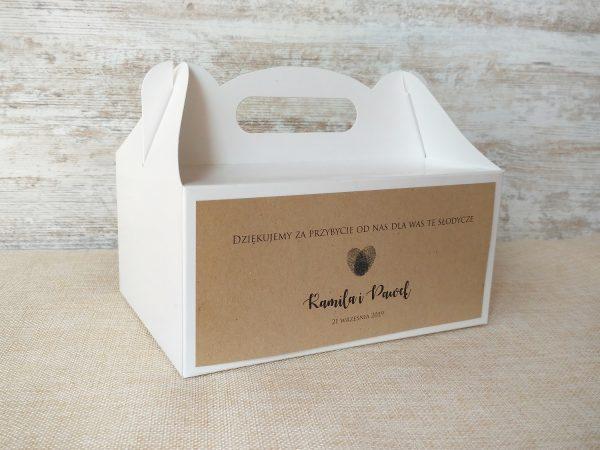 Pudełka na ciasto weselne białe – front eko