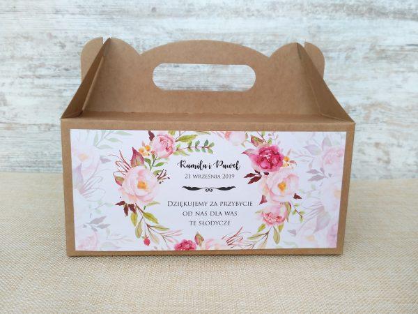 Pudełka na ciasto weselne eko – kwiatowy wianek