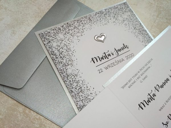Zaproszenia srebrne konfetti – kwadrat