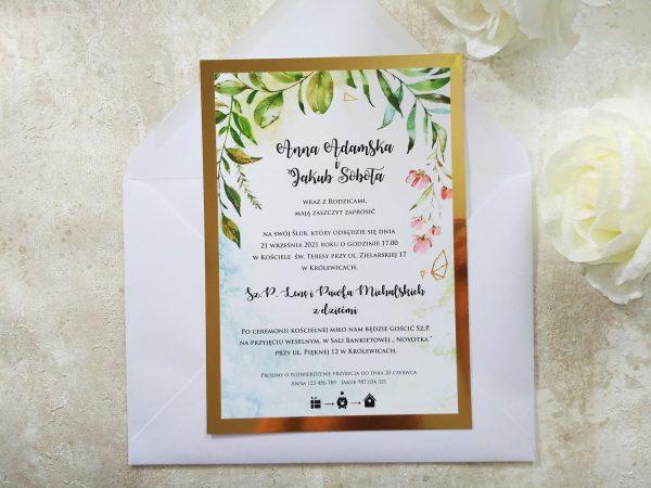 Zaproszenia ślubne Botaniczne LUSTRZANE duże