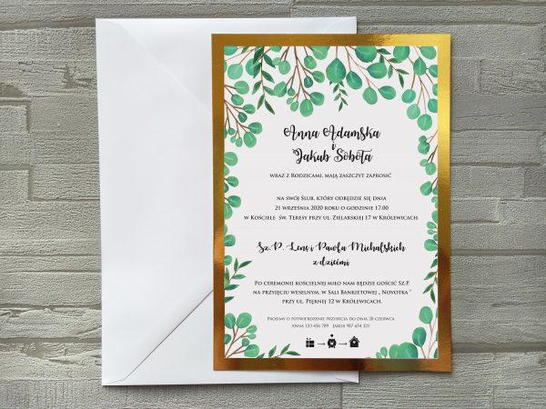 Zaproszenia ślubne Eucaliptus LUSTRZANE duże