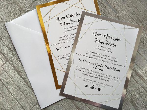 Zaproszenia ślubne GEOMETRYCZNE BROKATOWE duże