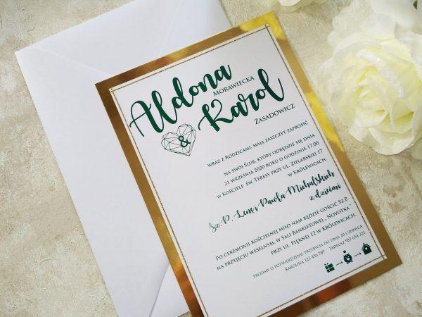 Zaproszenia ślubne duże, GEOMETRYCZNE SERCE – złote