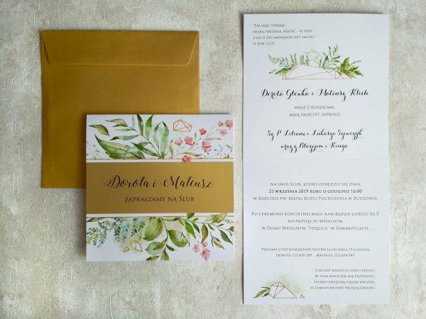 Zaproszenia botaniczne ze złotym akcentem