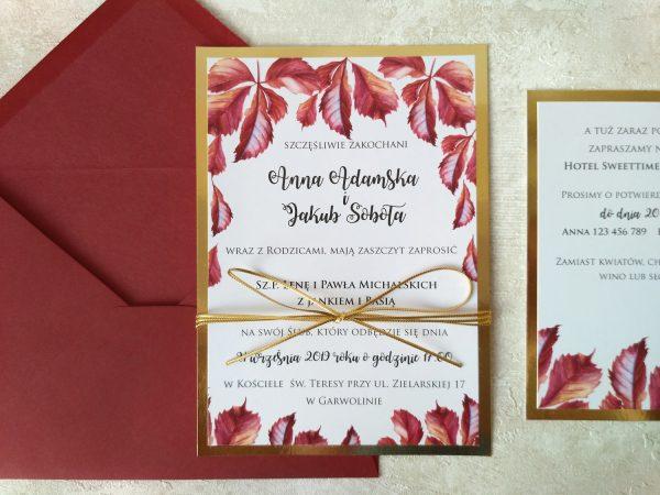 Zaproszenia ślubne – liście kasztanowca