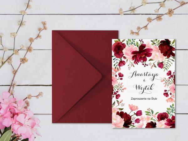 Zaproszenia  – kwiatowe bordo