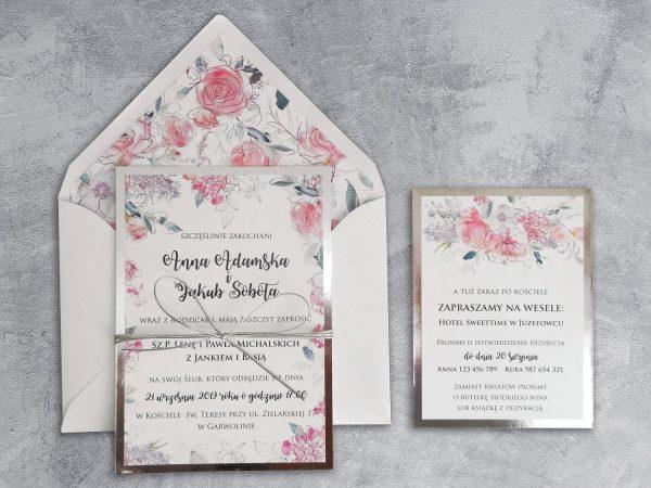 Zaproszenia kwiatowe glamour