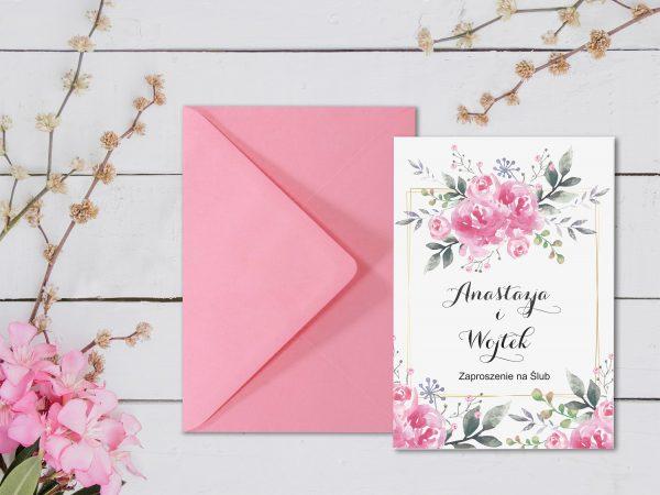 Zaproszenia  – kwiatowe różowe 1