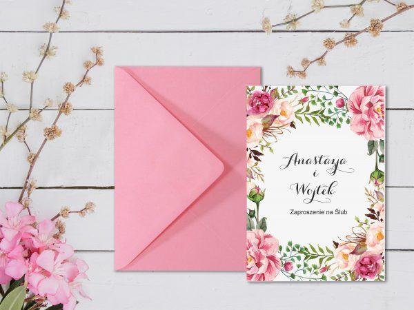 Zaproszenia  – kwiatowe różowe 2
