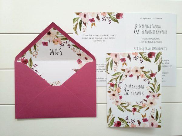 Zaproszenia Kwiatowy Wianek Fuksja z podklejaną kopertą