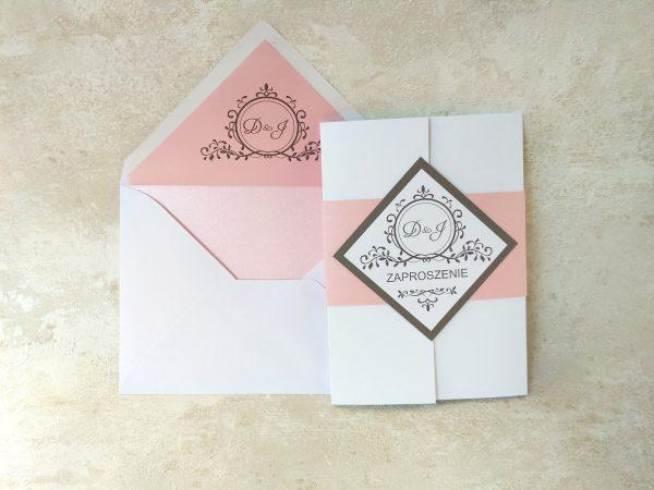Zaproszenie ślubne – folder z różową obwolutą