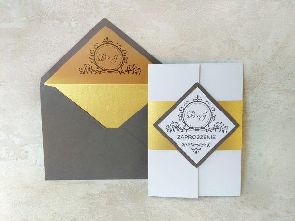 Zaproszenie ślubne – folder ze złotą obwolutą