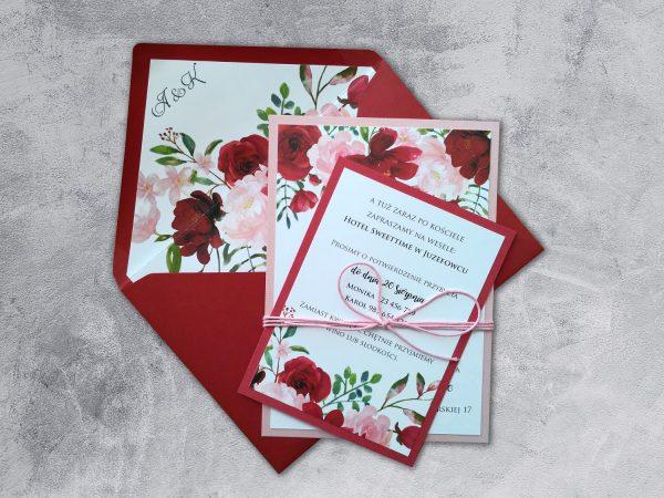 Zaproszenia ślubne Prima-25 bordowe i różowe kwiaty
