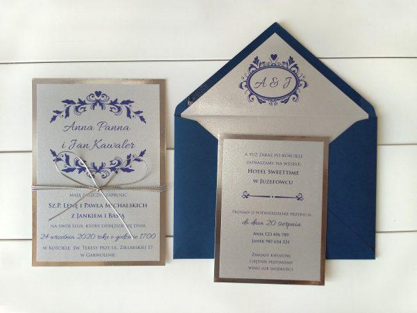 Zaproszenia ślubne Prima-26 srebro i granat