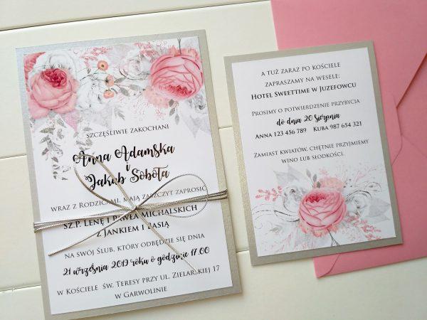 Zaproszenia ślubne różowo-srebrne