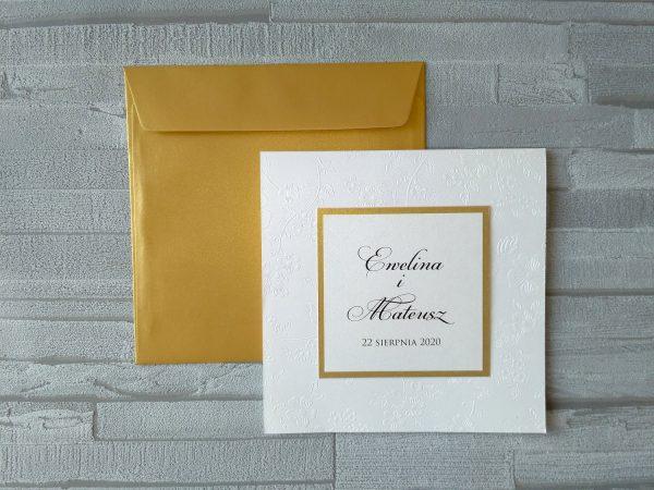 Zaproszenia wytłaczane kwiaty perłowe ze złotem