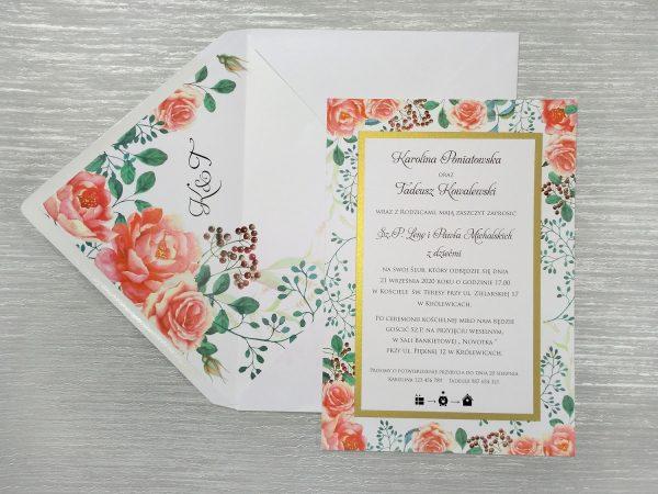 Zaproszenia ślubne – koralowe peonie