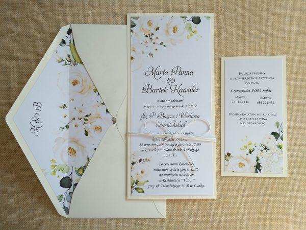 Czarujące zaproszenia ślubne z motywem białych róż