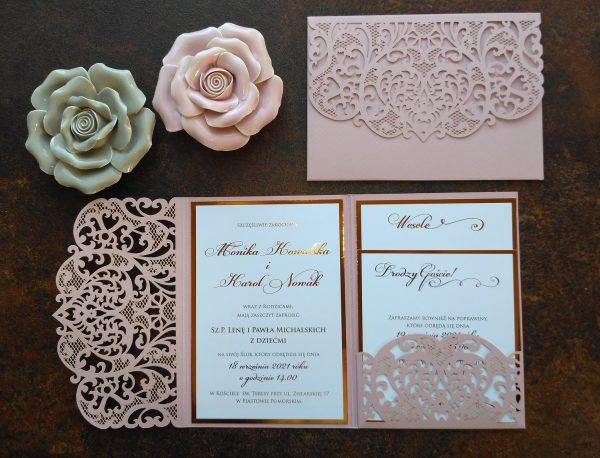 Zaproszenia ślubne ażurowy folder z miedzianym złoceniem