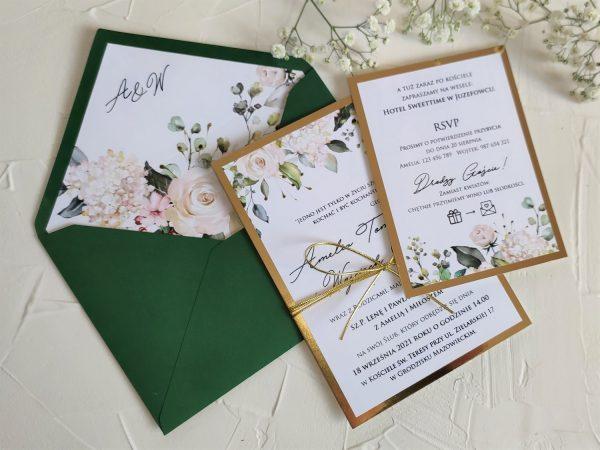 Zaproszenia białe róże glitter