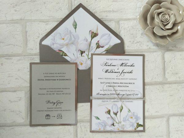Zaproszenia białe róże glamour