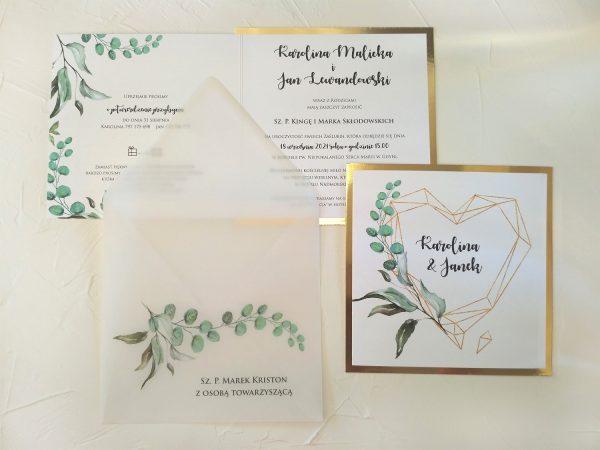 Zaproszenia botaniczne glamour z transparentną kopertą