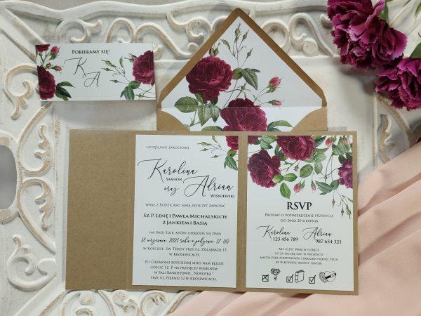 Zaproszenie eko folder z angielskimi różami