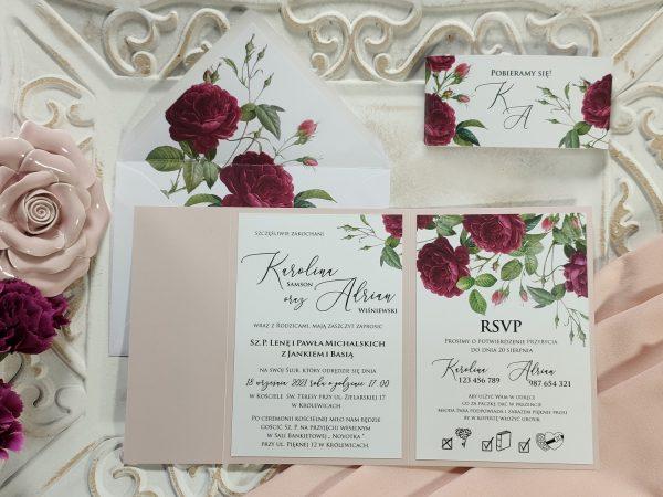 Zaproszenie różowy folder z angielskimi różami