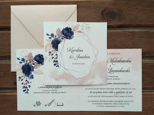 Zaproszenia ślubne – geometric blue