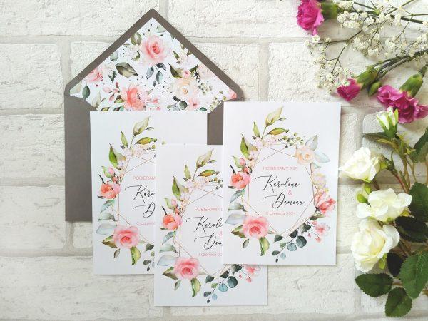 Zaproszenia geometryczne kwiatowe z podklejaną kopertą