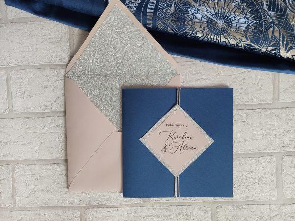 Zaproszenia ślubne – glamour blue