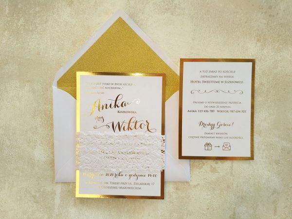 Zaproszenia glitter złocone z koronką