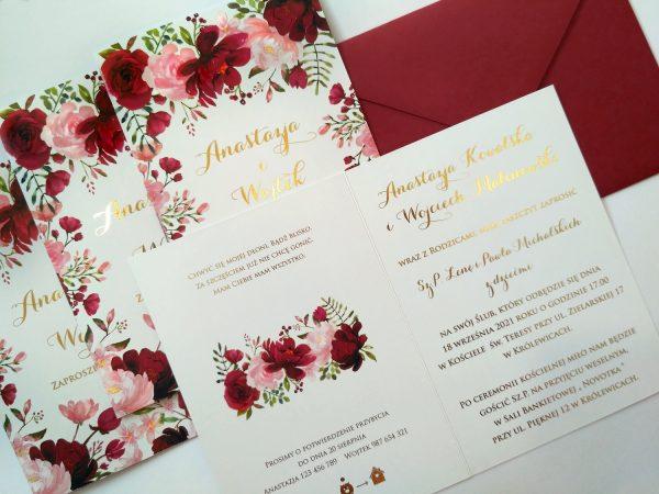 Zaproszenia  – kwiatowe bordo złocone