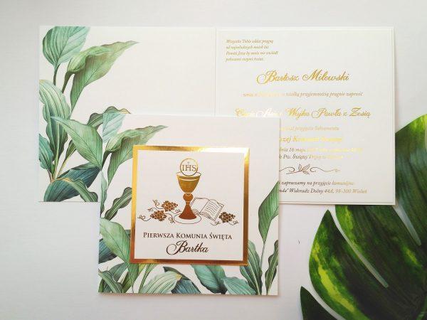 Zaproszenia komunijne złocone zielone liście