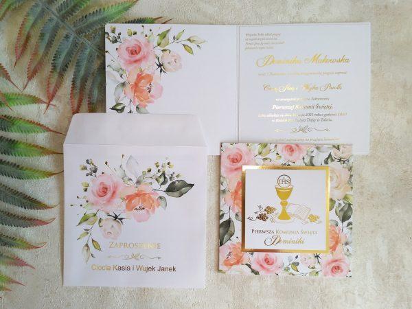 Zaproszenia komunijne złocone pastelowe kwiaty